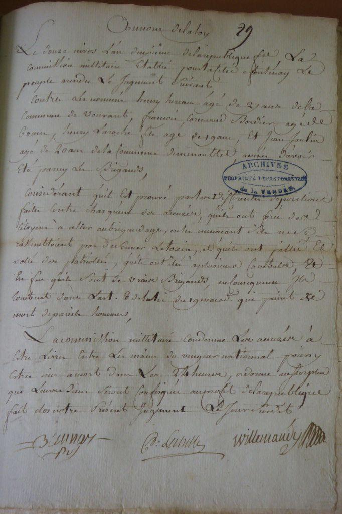 Jugement de condamnation à mort contre Henry Hereau, François Cornuau et Henry Laroche