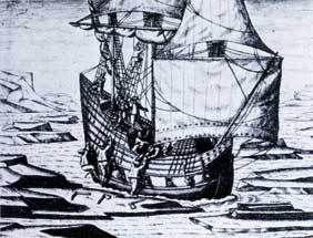 Navire de commerce pris dans les glaces (Théodore de Bry)
