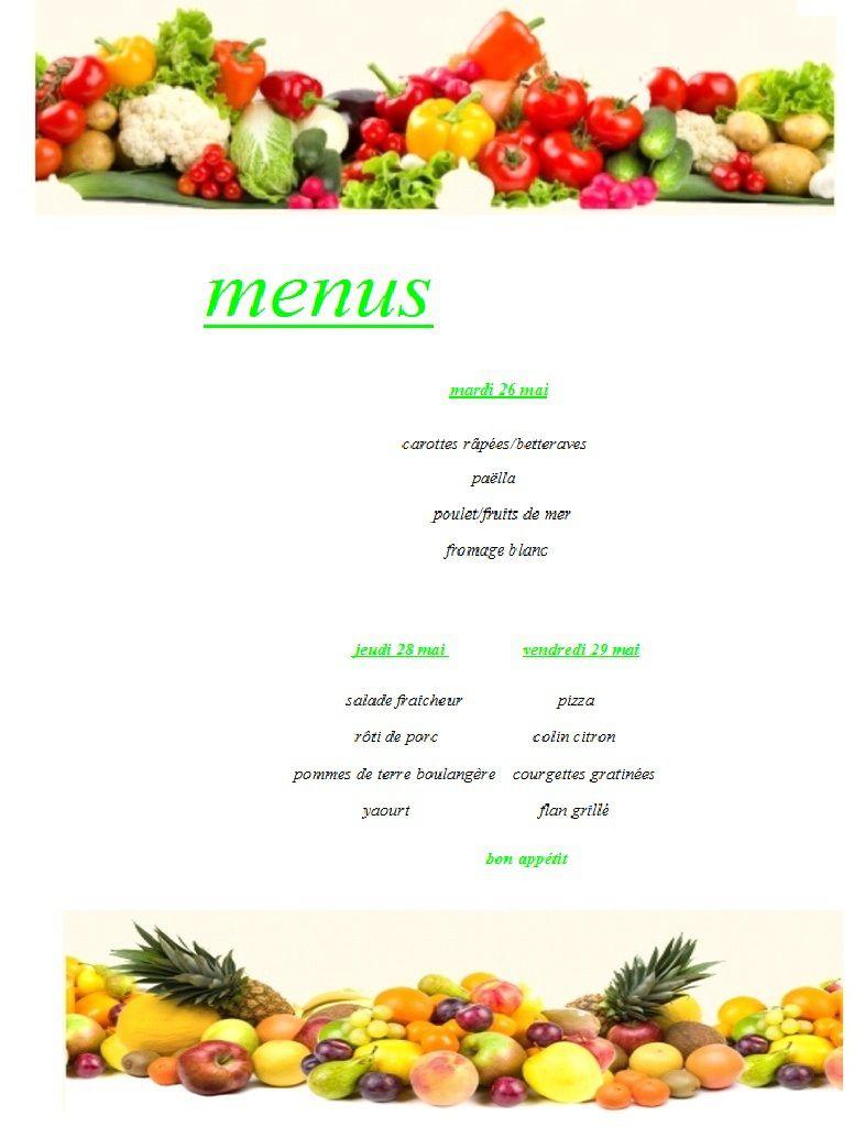 menu semaine 22