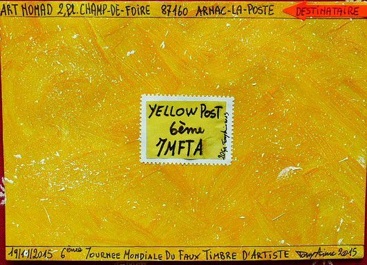 Yellow Post 2, for the 6th artist false stamp mondial day