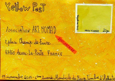 Yellow Post 1, for the 6th artist false stamp mondial day