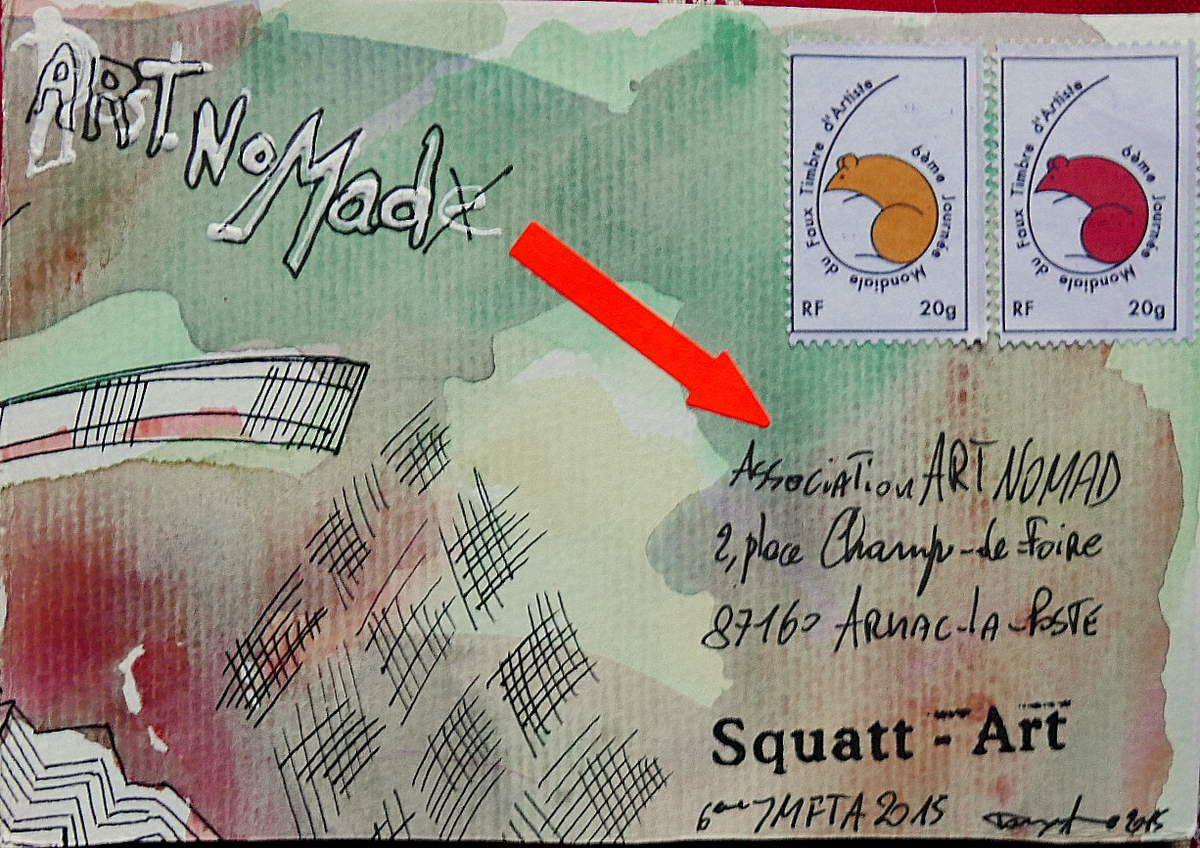 oeuvre de Lilian Pacheco venant du Brasil ré-envoyée à Art Nomade en France avec des faux timbres de Phillip Lerche des USA...