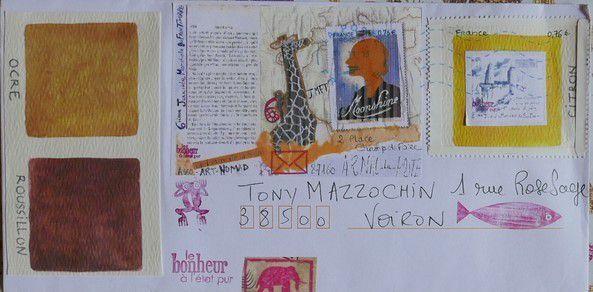 Palette et faux timbre  par Sam l'Epistolière