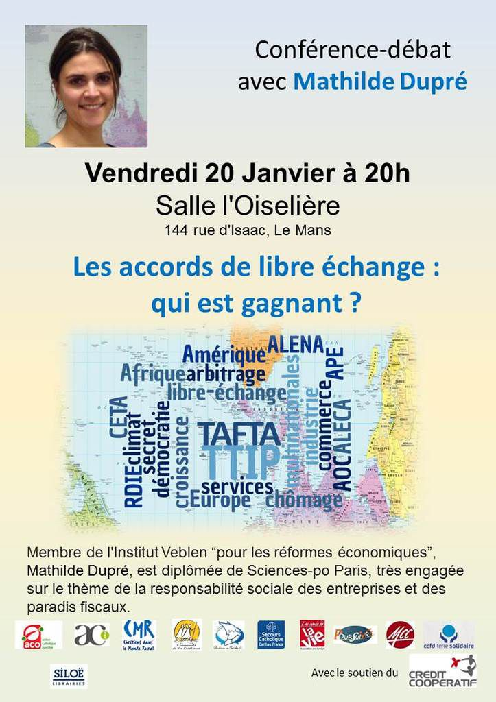 Conférence au Mans sur les traités internationaux de libre-échange.