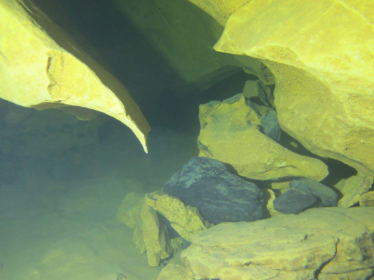 au milieu de la roche claire, une pierre sombre apparait parfois....