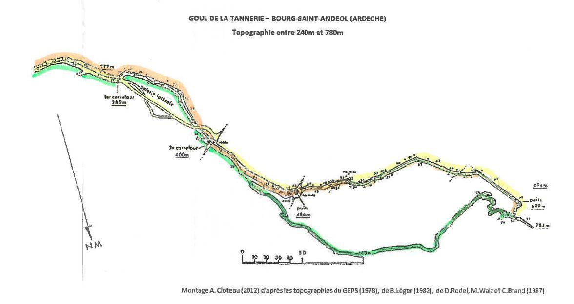 la topo de la Tannerie: en jaune, le trajet de Philippe par la galerie laérale sup entre 300 et 400m. Couleur marron, l'AR de Gilles au puits et en vert mon parcours via la galerie démarrant à 400 m.