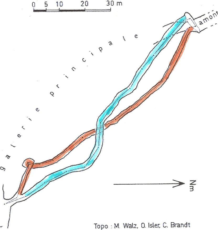 les galeries parallèles inférieure & supérieure: elles se rejoigent bien à 400 m, l'une en face de l'autre. Philippe était dans la bleue...