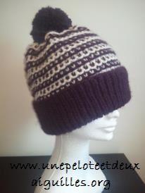 Tricoter un bonnet adulte unisexe bicolore