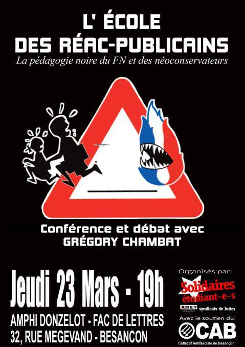 Conférence le 23 mars : &quot&#x3B;L'école des réac-publicains&quot&#x3B; par Grégory Chambat