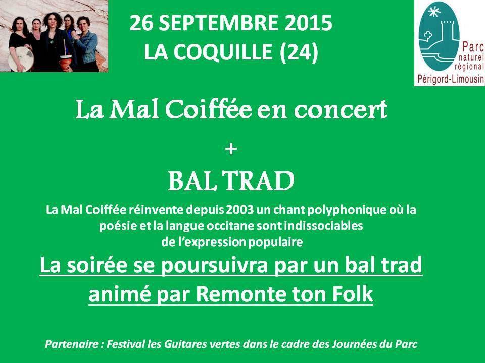 La Mal Coiffée et Bal Trad à La Coquille le 26 septembre