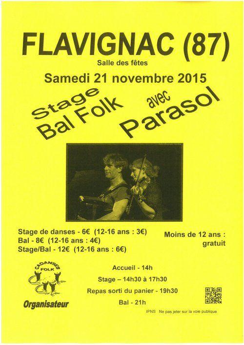 Flavignac le 21 novembre! avec Parasol...