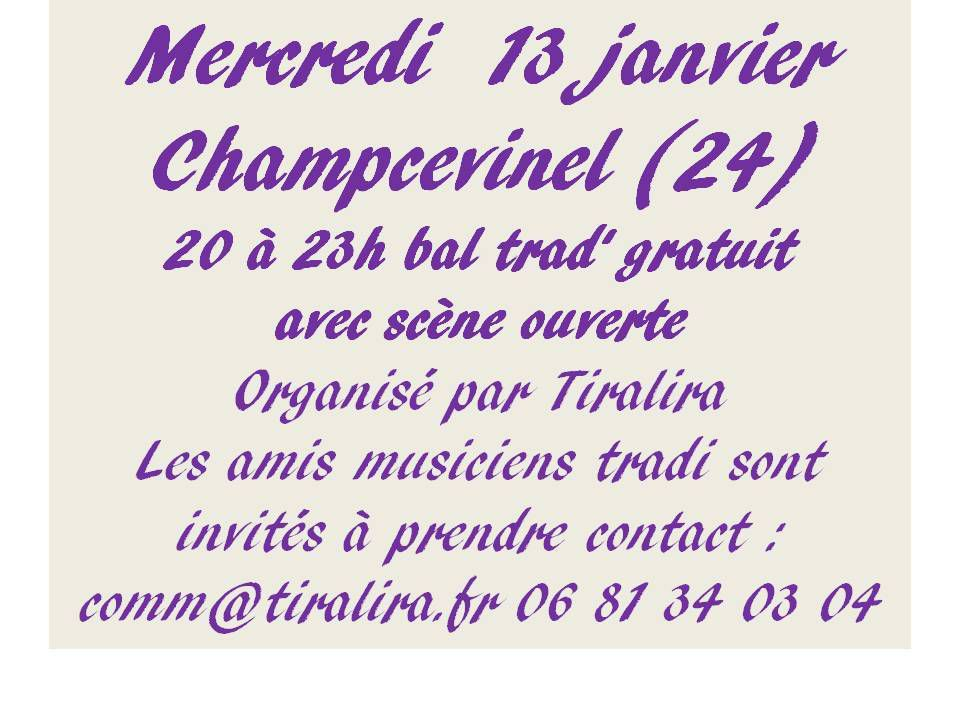 Champcevinel 13 Janvier Bal trad