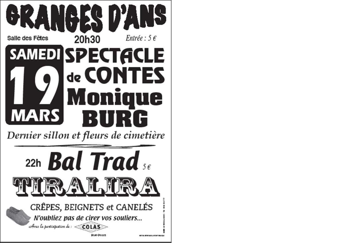 19 Mars à Granges D'Ans, Monique Burg et Bal Trad avec Tiralira