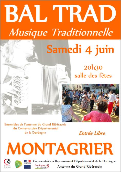 Tous au Bal Trad du Conservatoire  (antenne du Grand Ribéracois), le 4 Juin 2016  à Montagrier !!!!!!!