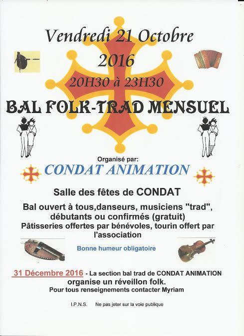 21 Octobre bal trad mensuel à Condat