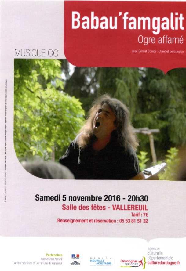 concert de musique occitane à Vallereuil le 5 novembre