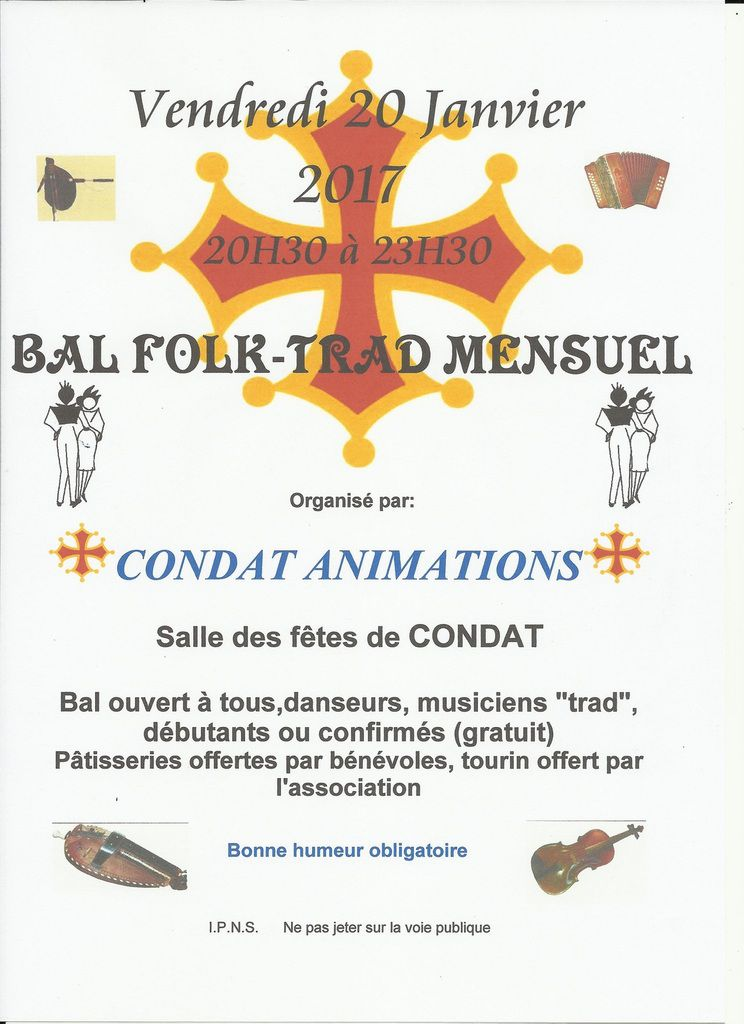 CONDAT, LE 20 JANVIER... TRADITIONNEL BAL TRAD!
