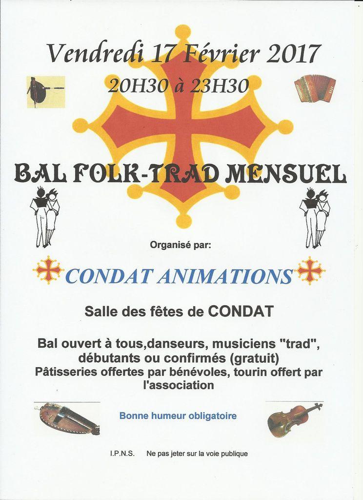 Condat sur Vézère : 17 février ... Bal Folk Trad Mensuel!