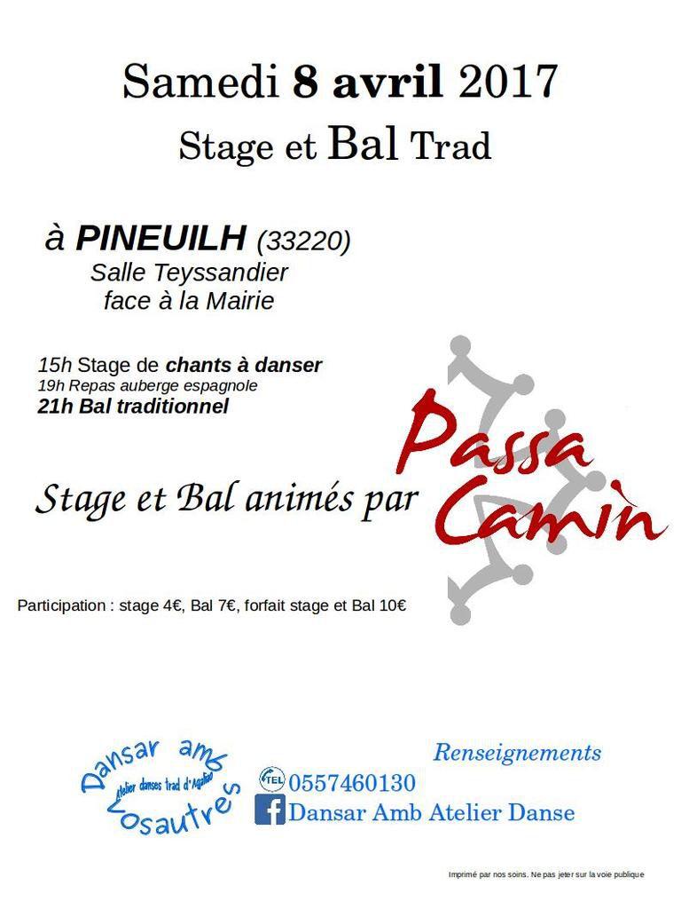 stage de chants à danser et bal traditionnel à Pineuilh, 8 avril.