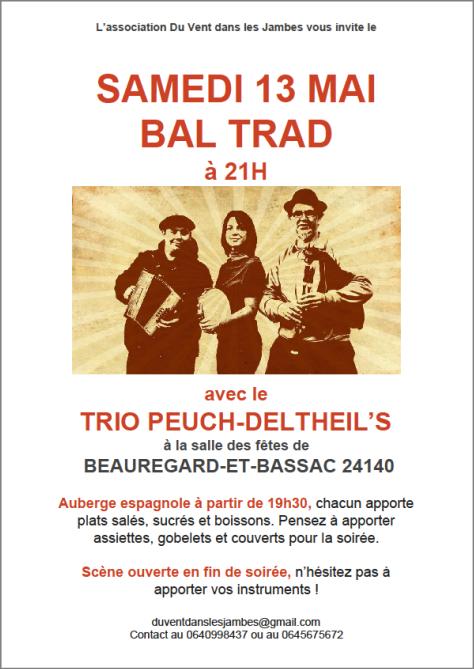 SAMEDI 13 MAI, A BEAUREGARD-ET-BASSAC : Bal Trad avec le Trio Peuch-Deltheil's
