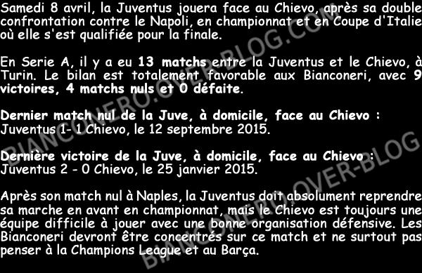 Avant Juve-Chievo (08/04/17), bilan de la Juventus à Turin