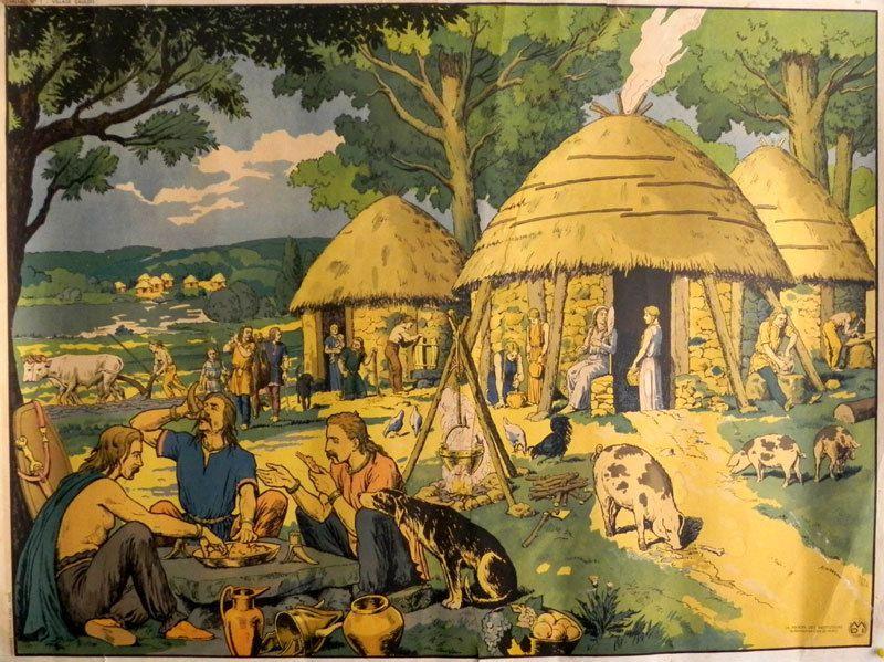 Image d' Epinal d' un village gaulois tel qu' ils étaient représentés dans nos livres d' histoire