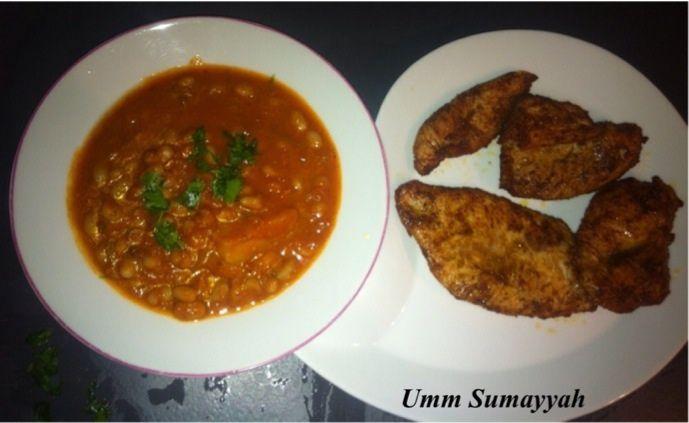 Loubia (haricots blancs en sauce) &amp&#x3B; escalopes de poulet marinées