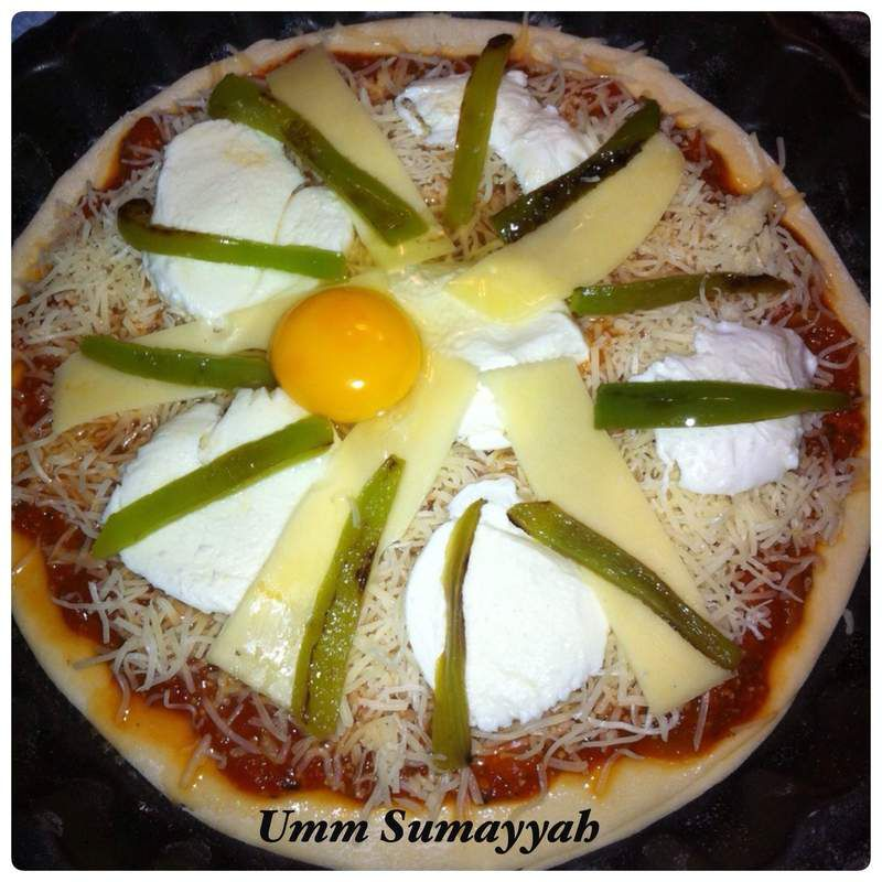 Pizza Fromage poivrons oeuf