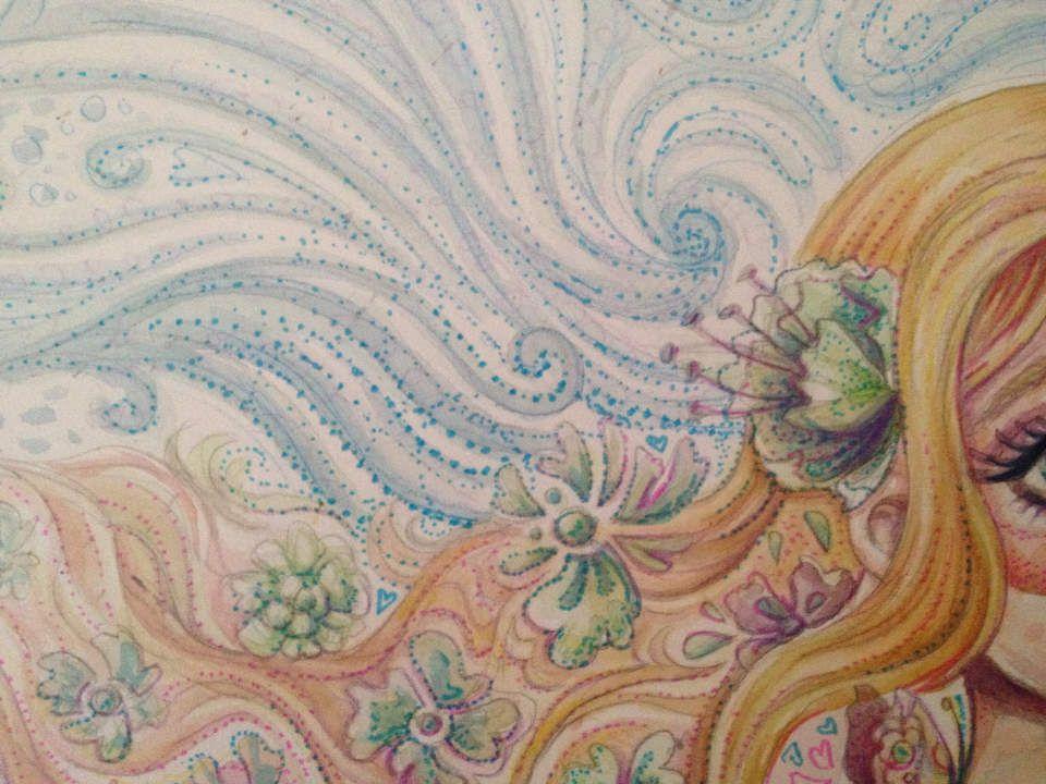 Fille aux longs cheveux, illustration (aquarelle, crayons de couleur et feutres)