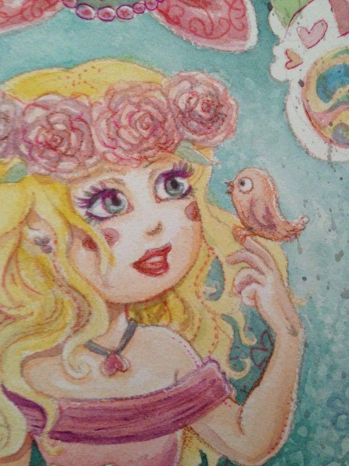 Illustration pour chambre de petite fille, bébé à naître, princesse en aquarelle