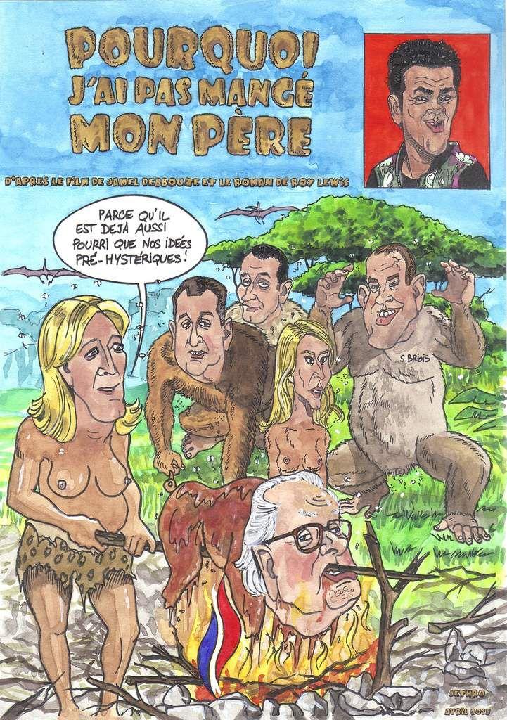 parodiant l'affiche du film de Jamel Debbouze adapté du roman de Roy Lewis. les dessinateurs de Charlie Hebdo en ont fait des fausses couvertures aussi au moment de la sortie du film le 8 avril dernier...avec les Le Pen qui s'entredéchirent ouvertement depuis hier, Louis Aliot le compagnon de Marine, Philippot, Marion Maréchal (nous voilà!) et Steeve Briois, le maire d'Hénin-Beaumont