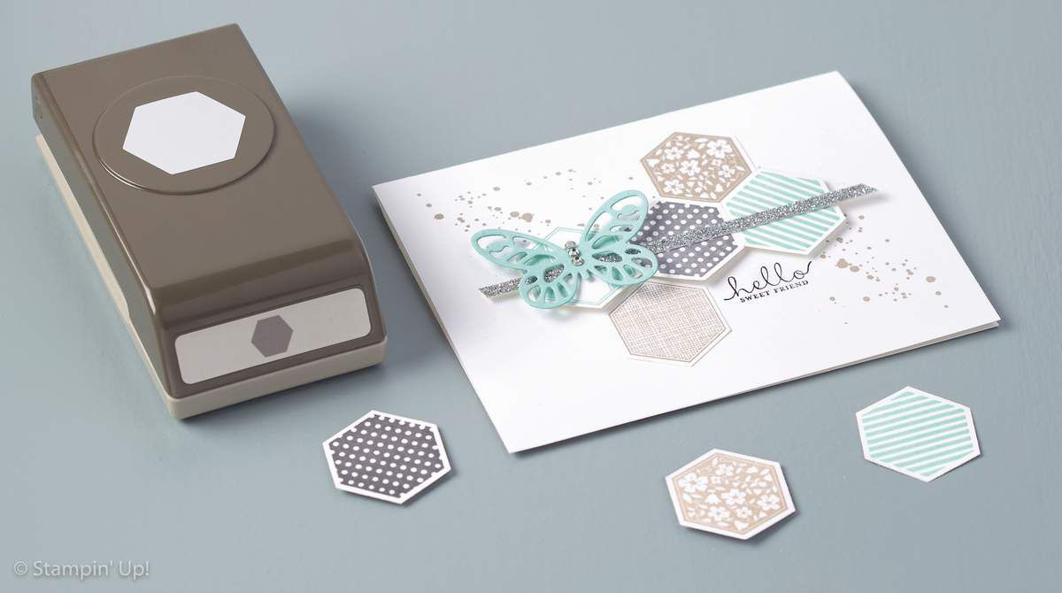 Set Six-sided stamper Stampin Up! + perforatrice hexagone
