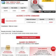 Exemple de cross selling en  email de confirmation. Source : J'optimise mon site