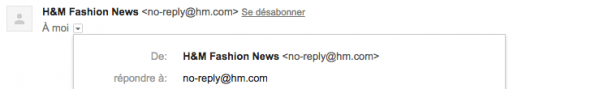 Exemple de No Reply chez H&M