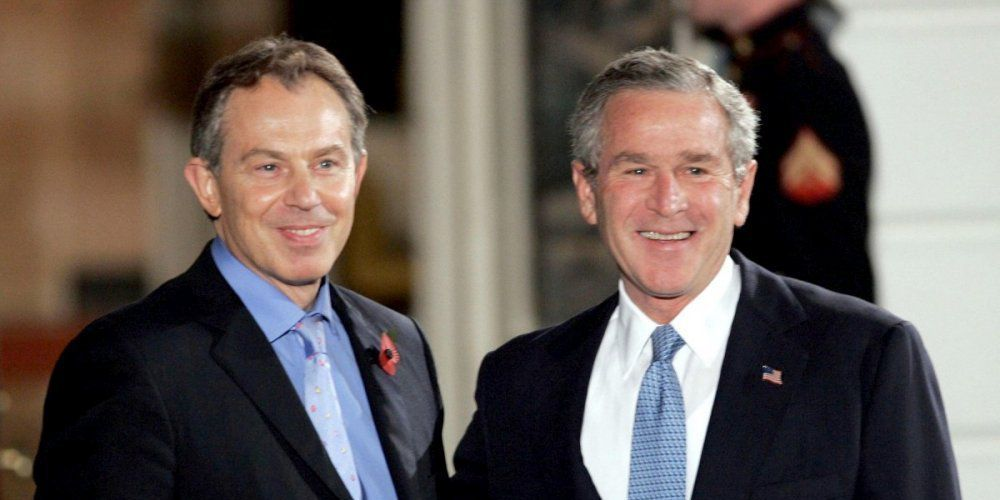 Tony Blair and George W. Bush. DR.