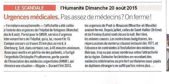 Urgences de Valognes : article journal Humanité du 20 août 2015