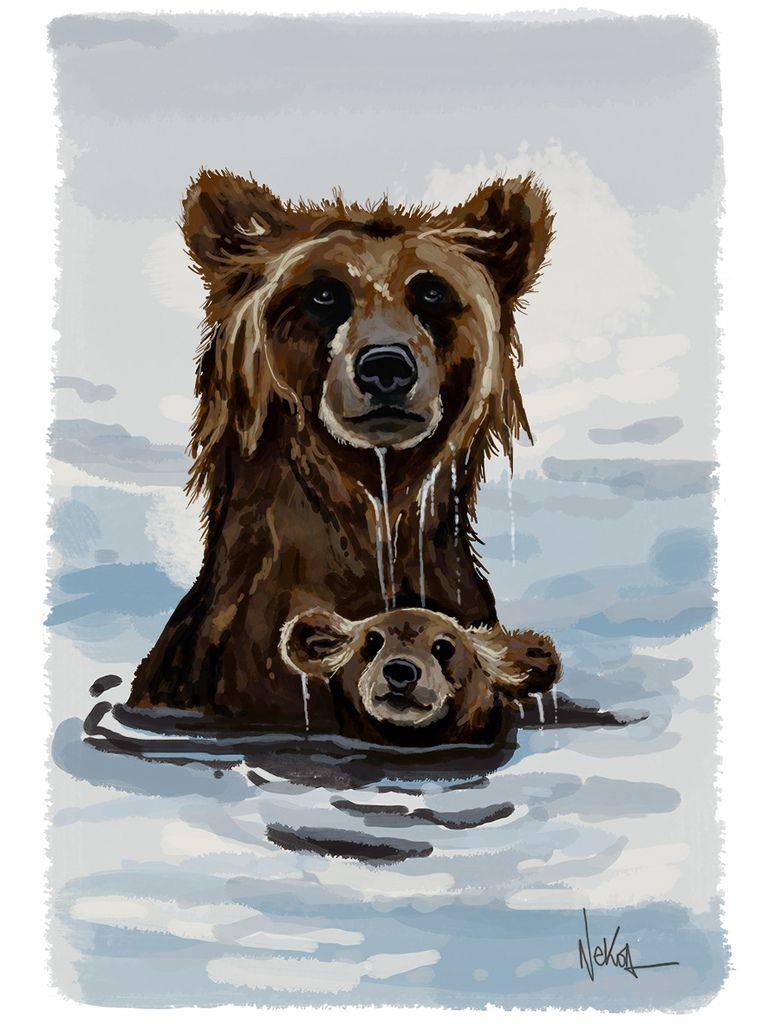 Speedpainting Bears wading in the water