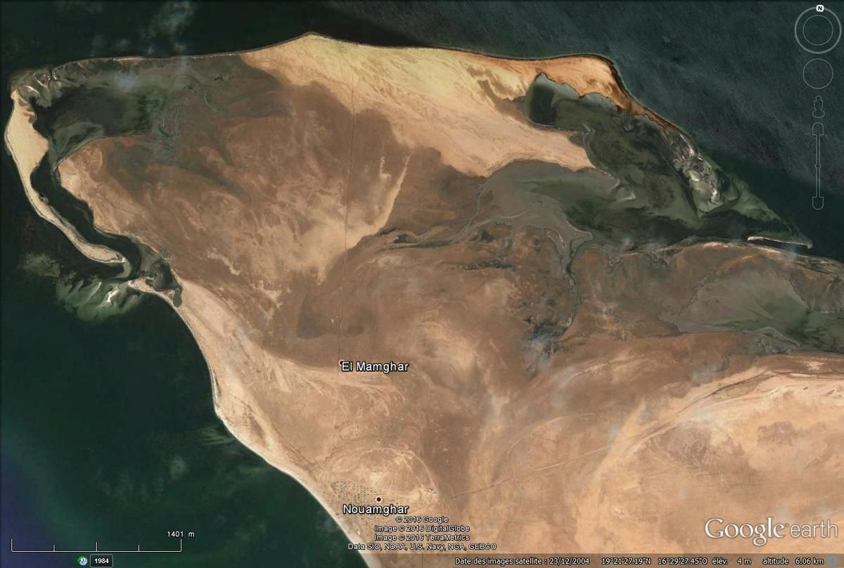 Le cap Timiris via Google earth