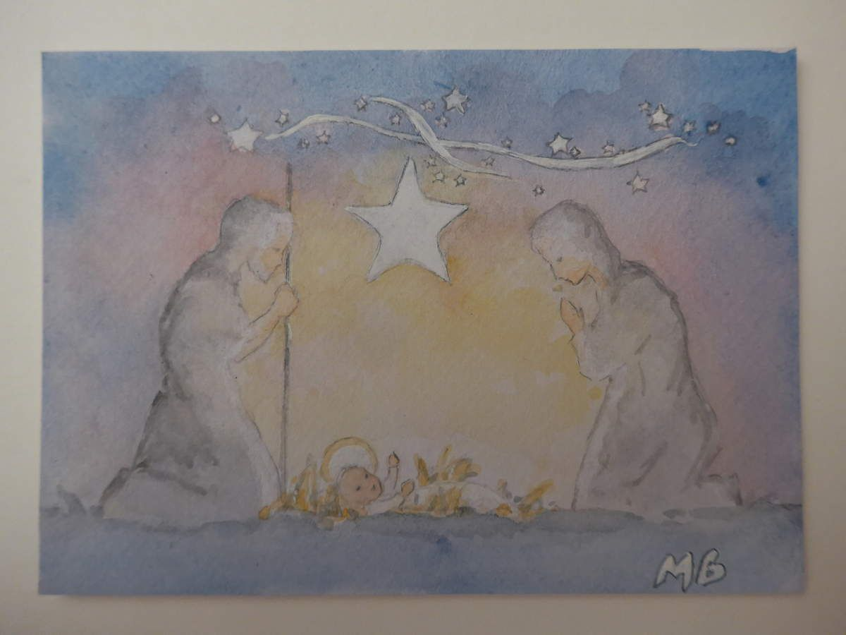 Nativité à l'aquarelle