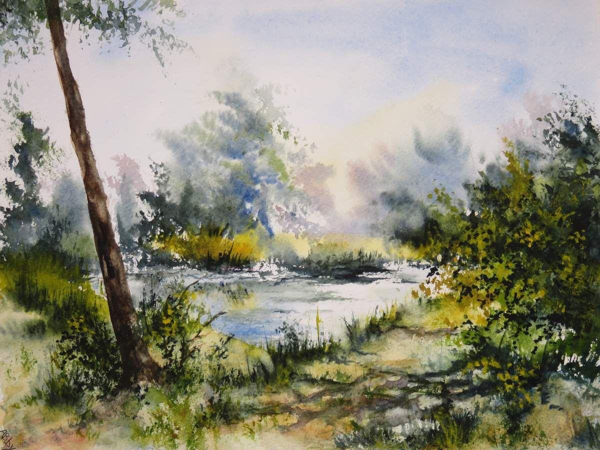 Aquarelle sur papier 300 g Grain fin - Exemplaire unique - Paysage avec étang et arbres