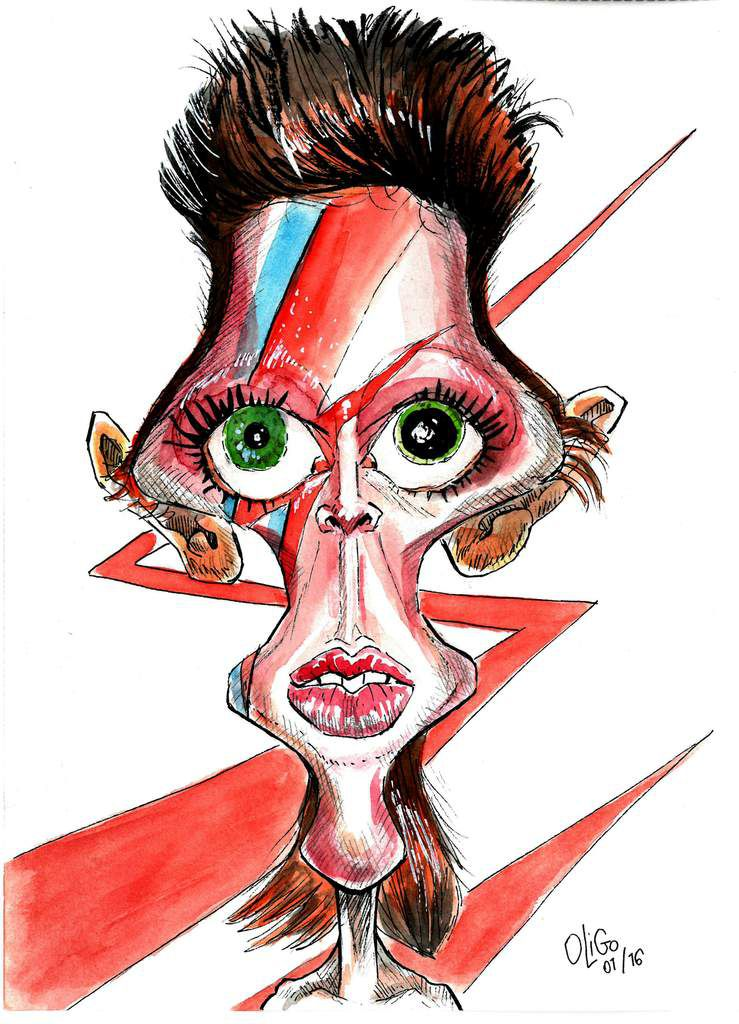 Caricature de David Bowie.