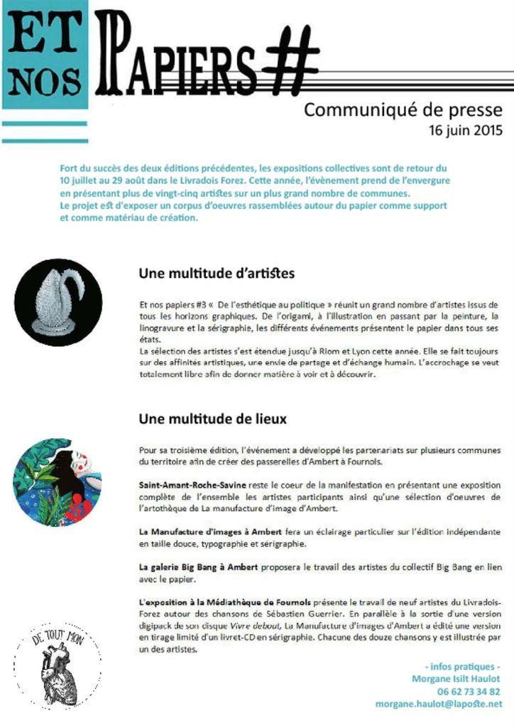 EXPOSITION &quot&#x3B;Et vos Papiers &quot&#x3B; 3ème édition ! - Salles de la Mairie- Du 10 juillet au 29 août 2015