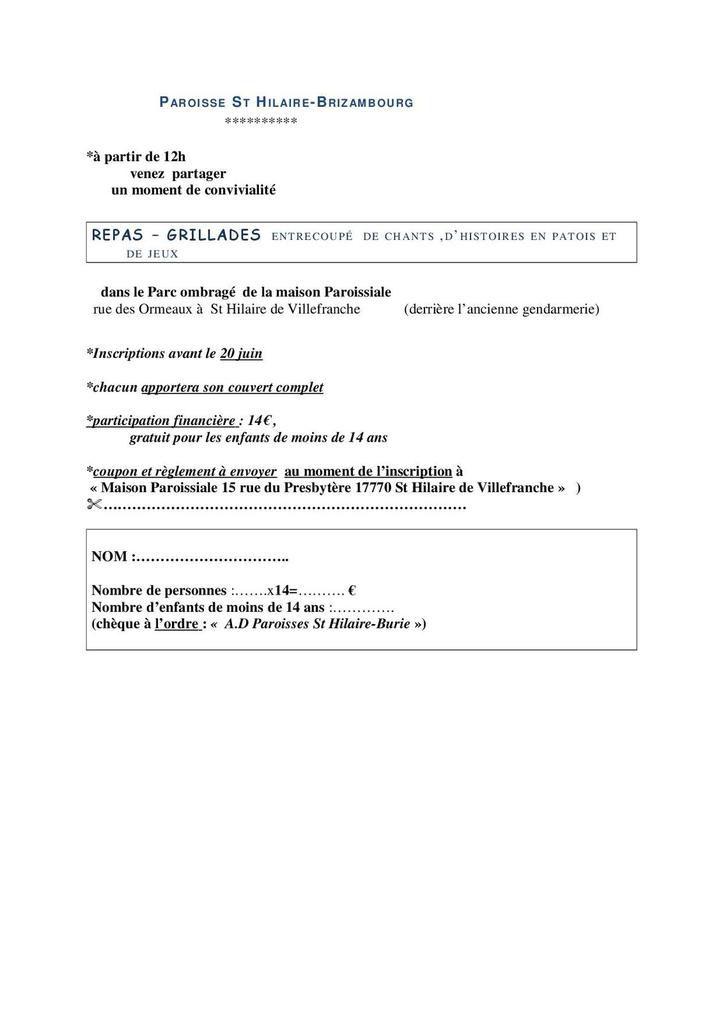 Saint Hilaire - Brizambourg / Repas Grillades organisé par la Paroisse