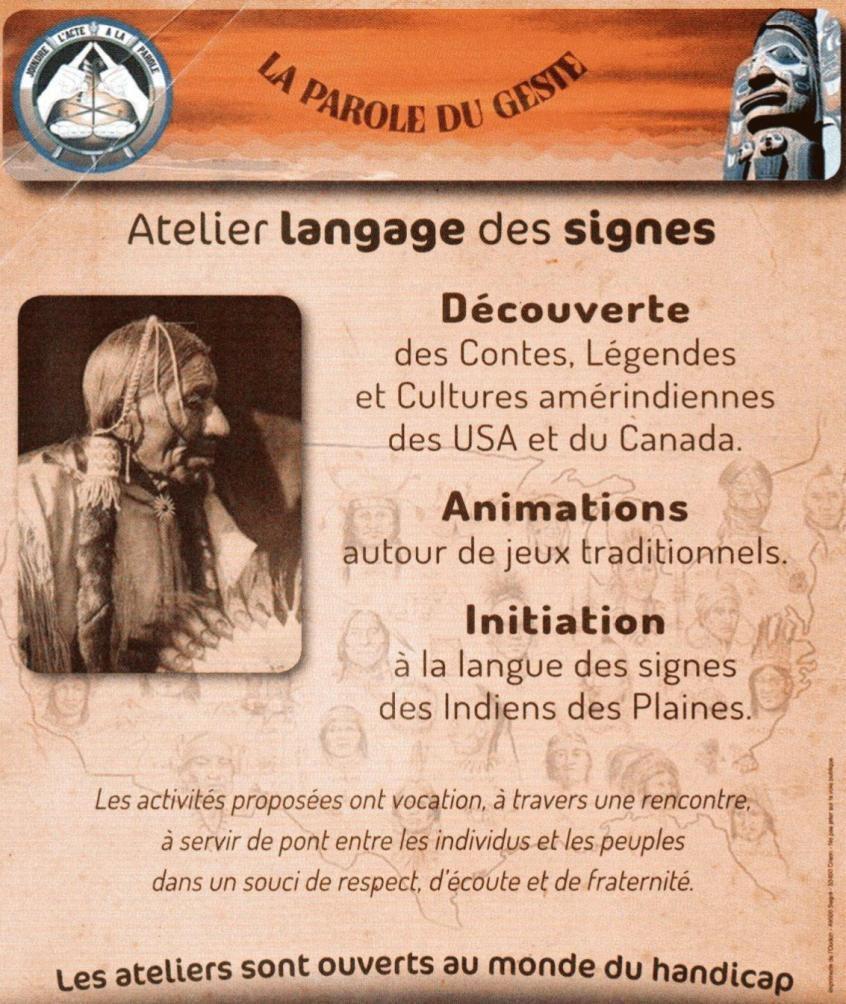 Le 20/02 samedi : Journée sur la culture amérindienne et le langage des signes améridiense