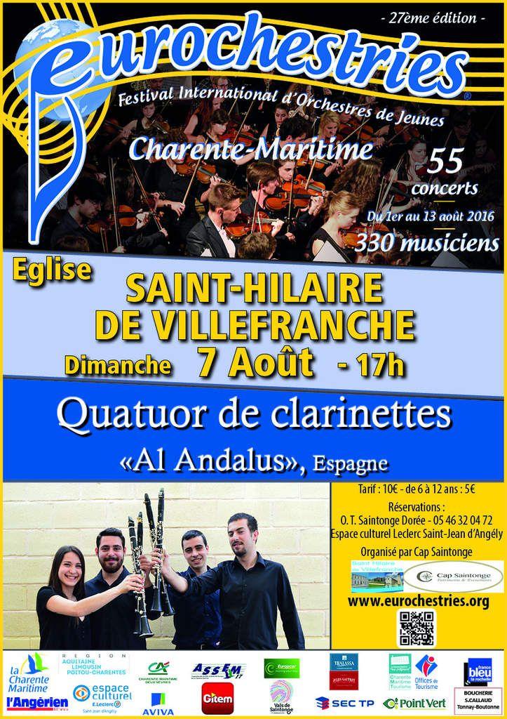 VALS de SAINTONGE / Festival EUROCHESTRIES 2016, du 3 au 9 Août : 5 concerts organisés par CAP SAINTONGE