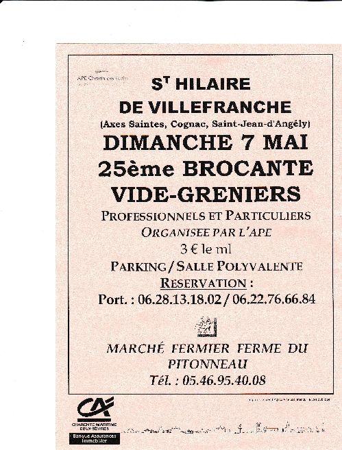 St Hilaire de Villefranche / Brocante, Vide-Grenier, Marché fermier le 7 mai 2017