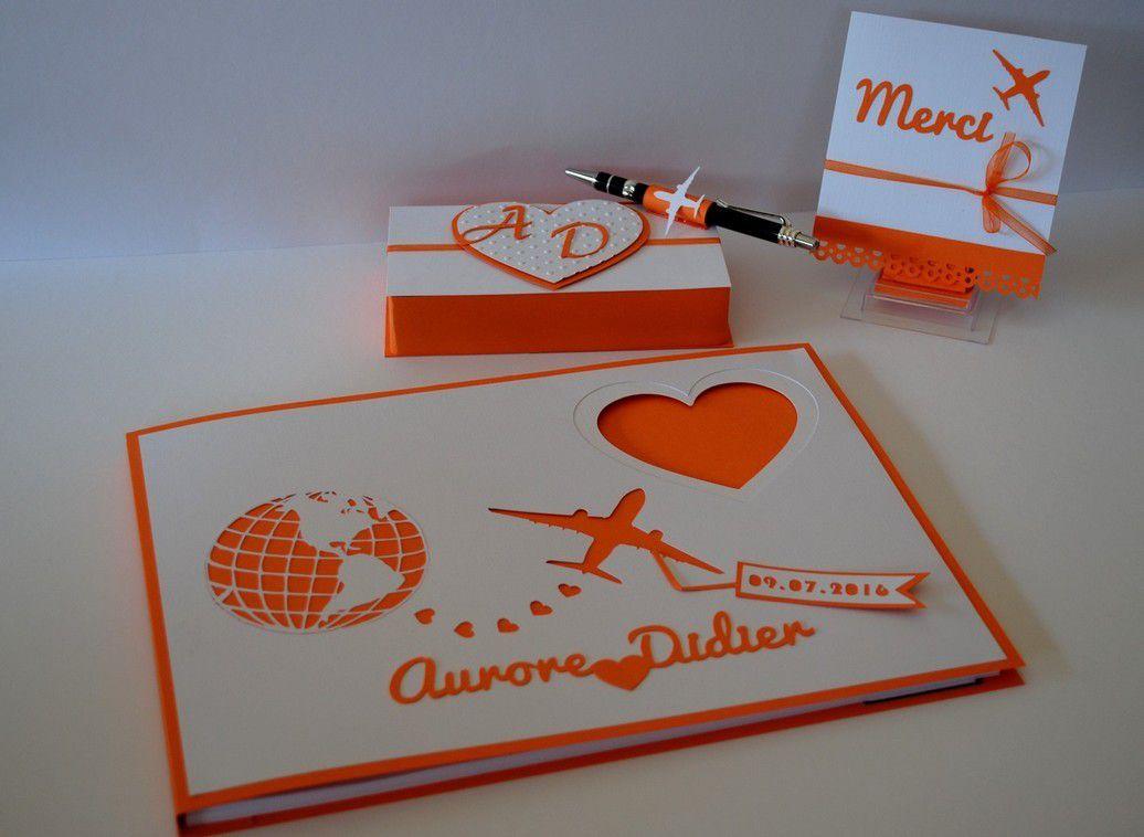 livre d'or personnalisé thème aviation couleur choisie orange