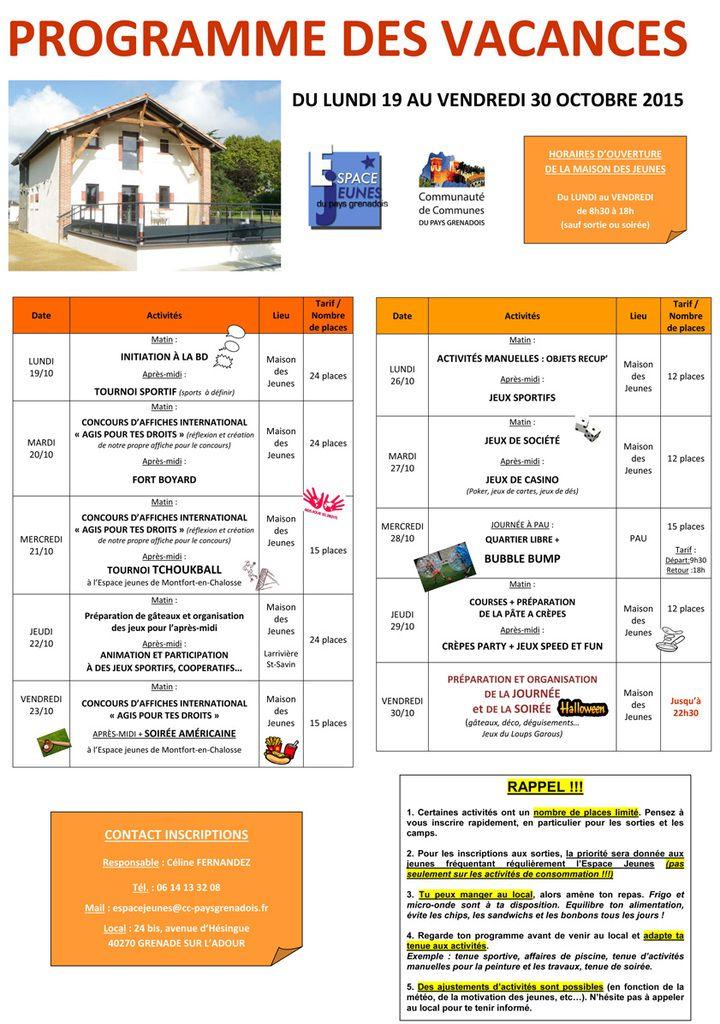 Planning vacances d'octobre 2015