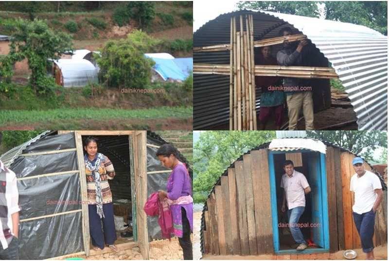 Exemples d'abris en tôles ondulées que nous pourrions financer à Bhaktapur et Bakunde Besi.
