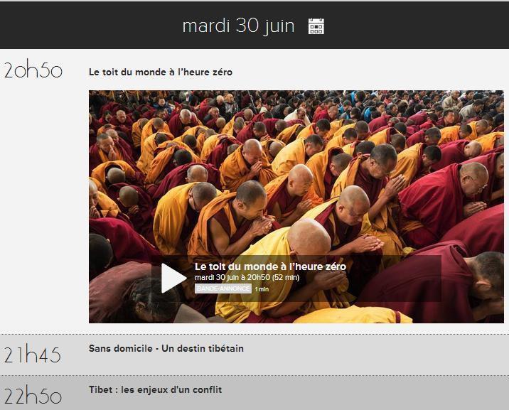 Mardi 30 juin 2015 : Thema spécial Tibet sur Arte